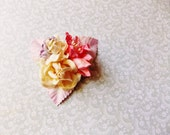 Lilac Cream Coral Ivory Pink Roses Lilies Handmade Millinery Corsage baby kids hair bow headband ooak clip supply Vintage Style Flowers