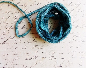 Teal Blue Linen Blend Pinstriped Ribbon -striped woven millinery trim baby hair bow headband supply ribbonwork fiber art trimming