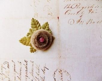 Malt Pink Citrine Millinery Flower Brooch ~Velveteen Chenille Rosette pin, glass beaded stamens, velvet wedding accessory Victorian trim