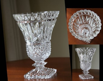 BOWTIES & DIAMONDS: Fabulous Vintage American Brilliant Cut Glass Crystal Vase (Large), Sawtooth Edge, Diamond Points, Square Foot Pedestal