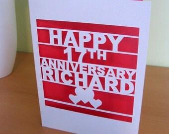 Personalized papercut anniversary card
