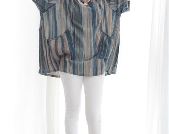 Tie Dye and  hand painted blouse Round neck in only one size