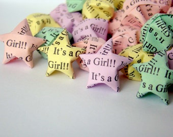 100 Origami Lucky Stars -Pastel Colors - Baby Shower - It's A Girl