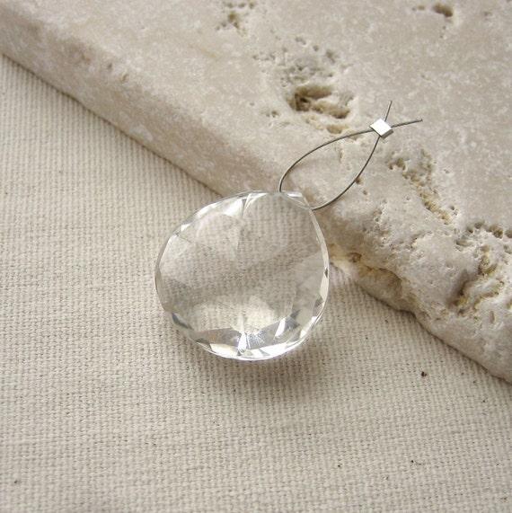 Large Crystal Quartz Faceted Heart Bead 21.5x20.75mm - Gemstone Focal Pendant