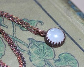 Moonstone Necklace Crown Bezel Set Antiqued Copper Chain Crown Setting Moonstone Cabochon Necklace
