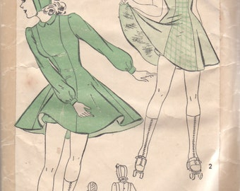 Advance 2598 1940s Misses Princess Seam Skating Dress Bloomers and Hat Pattern Womens Vintage Costume Sewing Pattern Size 14 Bust 32