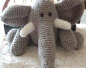 Elephant stuffed animal crocheted childrens toy, amigurumi elephant, Mr. Elephant toy, elephant plushie, baby toy, grey elephant toy