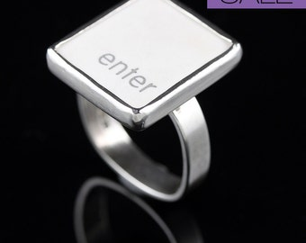 SALE - Computer Key Jewelry - rePURPOSED MacBook Enter Key Sterling Silver Ring Size 6.5