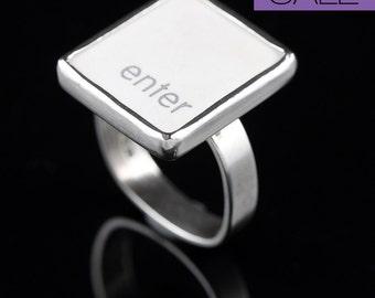 SALE - Computer Key Jewelry - rePURPOSED MacBook Enter Key Sterling Silver Ring