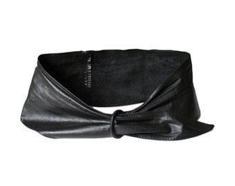 1980s AVANT GARDE black leather wide WRAP belt