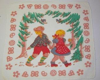 Vintage Hankie Hansel & Gretel Leave Trail of Breadcrumbs