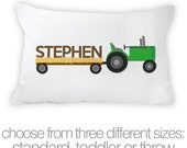 Personalized tractor pillowcase / pillow in 3 sizes -  custom pillowcase great birthday gift