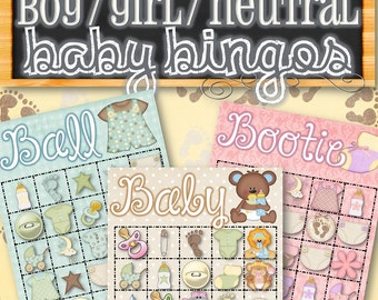 3 Baby Bingo Sets (Boy, Girl, and Neutral) - INSTANT DOWNLOAD