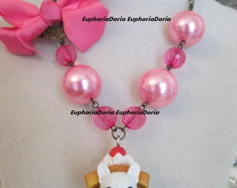 French Bulldog Pink Kawaii Necklace