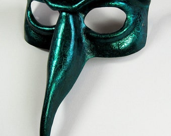 READY TO SHIP: Beaked domino leather mask, gloss black with iridescent turquoise / green crackle and highlights, Halloween