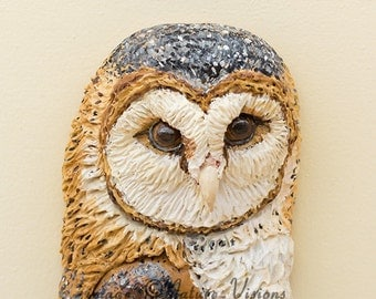 Barn Owl Art, Bird Figurine, Bas Relief Polymer Clay Owl Sculpture, Owl Décor, Bird Wall Hanging, Owl Lover Gift