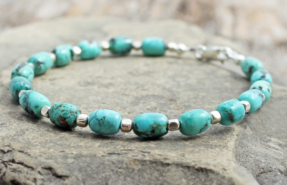 Bracelet with Chinese turquoise barrel beads and sterling silver nuggets