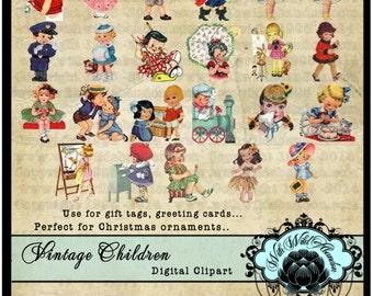 Children Clipart, Retro Children, Little Girl and Little Boy Vintage Images and Child Ephemera