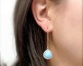 Sky Blue Earrings - Blue Glass Dangle Earrings