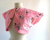 Vintage 1940s Top / Marionette Print / Pink Bolero Jacket / 40s Jacket / Small S