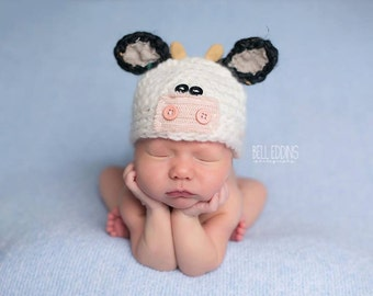 baby cow hat .. newborn photo prop .. baby photography .. farm hat .. boy .. girl .. cow prop .. baby hat .. FREE layering piece included