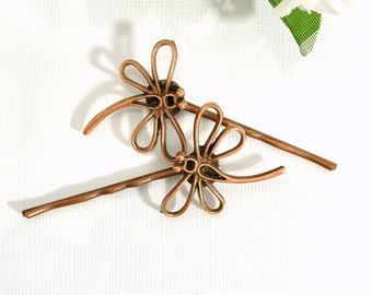 SALE - Dragonfly Hair Pin Copper Bobbies Dragonfly Hair Jewelry Woodland Bobby Pins