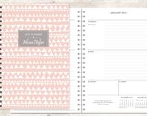 2015 planner | 2015-2016 calendar | custom weekly student planner | personalized planner agenda daytimer | pink grey tribal pattern