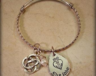 Mo Chridhe Bracelet, Mo Chridhe Bangle, Celtic Bangle, Scottish Thistle Bracelet, Celtic Bracelet, Luckenbooth Jewelry, Gaelic Jewelry