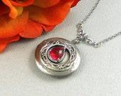 Victorian Red Locket Antique Silver Locket Rhinestone Vintage Ruby Red Birthstone Locket Necklace