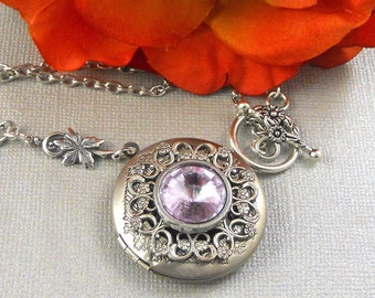 Victorian Alexandrite Locket Antique Silver Locket Rhinestone Vintage Lavender Birthstone Locket Necklace