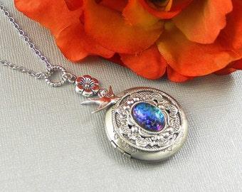 Victorian Stone Locket, Silver, Silver Locket,  Bird, Sparrow, Bird Locket,  Birthstone, Flower Locket Necklace- Luna