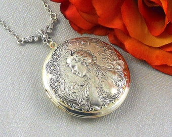 Grand Lady Peacock, Peacock, Victorian Lady Statement Locket, Art Nouveau, Victorian Peacock Lady Jewelry