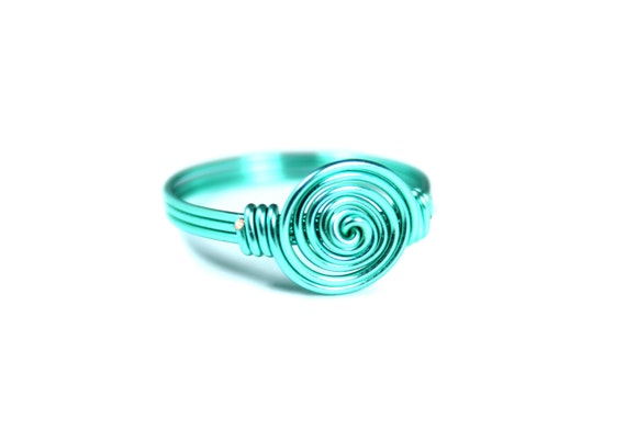 Turquoise Spiral Ring, Wire Wrapped Ring, Rosette Ring, Coil Ring, Teal Ring, Blue Ring, Ring Size 4, 5, 6, 7, 8, 9, 10, 11, 12, 13, 14