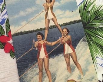 Vintage Florida Cypress Gardens postcard water skiers Pyramid of Aqua Maids 1940s linen souvenir kitsch Floridiana bathing beauties