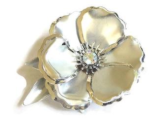 Large Rhinestone Flower Brooch Matte Silver Tone Layered Aurora Borealis Vintage