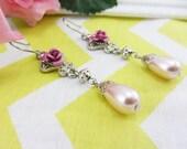Romantic Pink Rose Teardrop Dangle Earrings