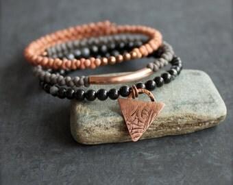Etched Copper Triangle Charm Wrap Bracelet Set - Peach, Grey, Black - Boho Beaded Stone Cuff No.1