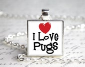 I Love Pugs Pendant Necklace with Paw Print Organza Bag