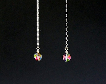 Sterling Silver Earrings - Vintage Swarovski Aspirin Bead - Rainbow Earrings - Swarovski Vitrial Medium Art 20/5102 - Wire Wrapped Earrings