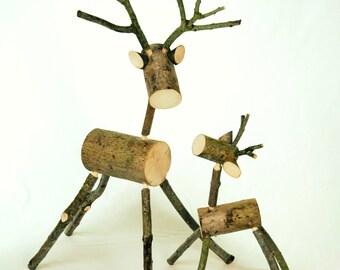 Rustic LOG DEER - Medium - Mother - Deer - Reindeer - ornament - decoration - Christmas - present - gift - visual merchandising