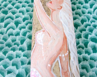 SALE Beautiful Hand Painted Mermaid on driftwood/Bamboo, Bathroom Mermaid Decor