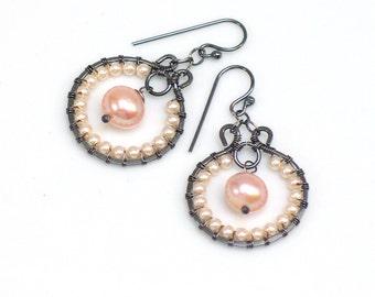 Pastel Pearl Hoop Earrings, Beaded Peach Pearl Dangles, Original Artisan Handmade Earrings, WillOaks Studio Design, Gift for Her