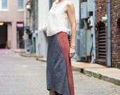High Low hem women's skirt • brick red melange and grey melange Japanese wool knit • two tone skirt • All seasons