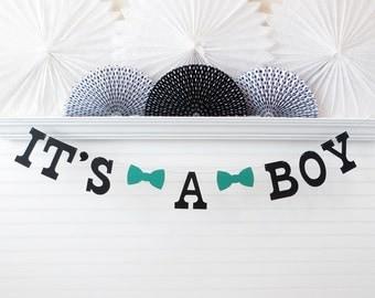It's a Boy Banner - 5 Inch Letters with Bow Ties - Bowtie Baby Shower Garland Baby Boy Shower Decor It's A Boy Garland Boy Bow Tie Banner