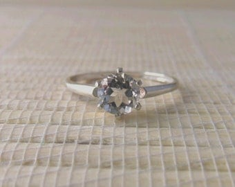 White Topaz Solitaire Ring Sterling Silver April Birthstone Made To Order