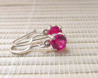 Pink Sapphire Dangle Sterling Silver Earrings Made To Order