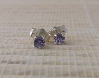 Tanzanite Stud Sterling Silver Genuine Earrings 3mm