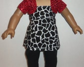 18 inch Doll Outfit, Black Animal Print Blouse, Black Leggings, Red Sparkly Shrug, Cotton Pants Shirt, American Made, Girl Doll Clothes