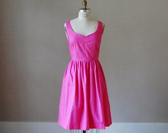 Amber Cotton Sweetheart Dress / Raspberry / Custom / Rustic / Bridesmaid / Party / Wedding / Handmade in USA / Summer / Fuschia / Magenta