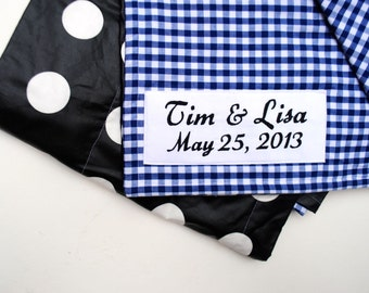 Picnic Blanket- Waterproof Picnic Blanket- Personalized- Blue Gingham- Wedding Gift